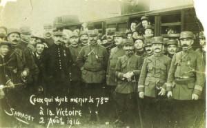 le 78e RI  à la gare de Limoges le 2 aout 1914