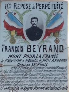 François Beyrand , mort le 1er novembre 1918, à 29 ans