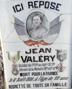 Jean Valery, soldat au 142e RI, mort le 6 aout 1916 à 22 ans