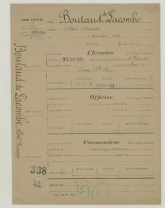 Dossier d'Albert Boutaud Lacombe pour être nommé chevalier de la légion d'honneur en qualité de Maire de Nexon