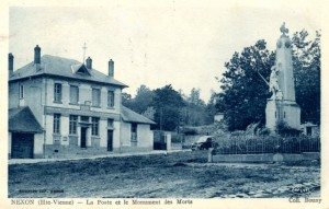 la poste et le monument aux morts Bouny bleue