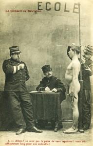 Jeune homme au cours de la visite médicale du conseil de révision