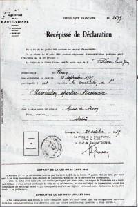 declaration ASN prefecture 1949