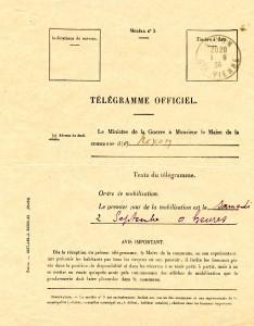 telegramme ordre mobilisatio 1914