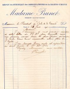 lettre Prunet fin du bail 1930
